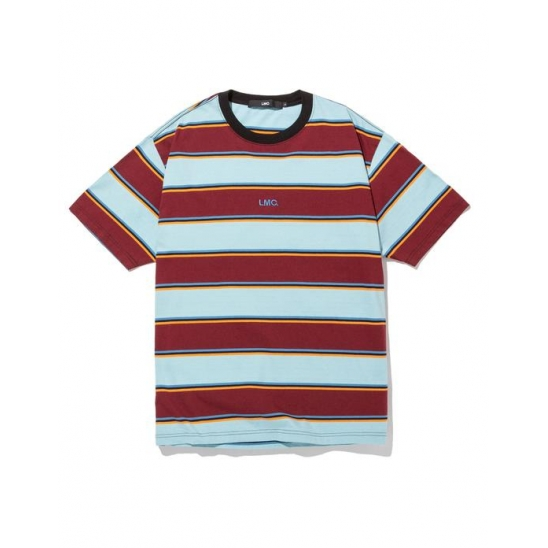 LMC MULTI COLOR STRIPE TEE burgundy