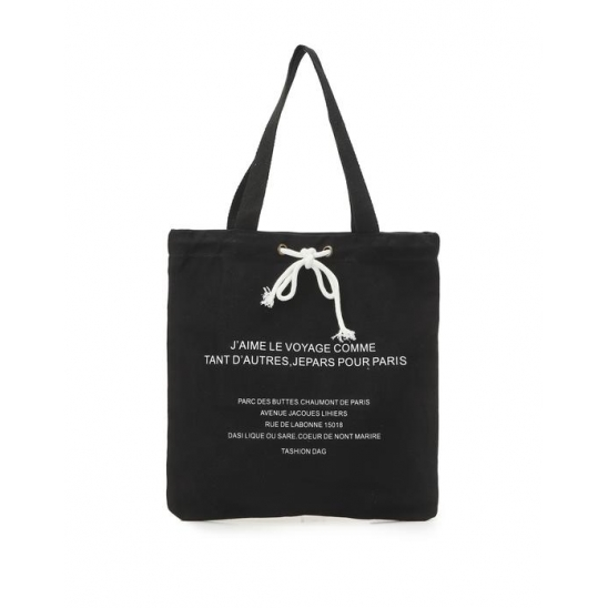 LETTERING CANVAS BAG BK 엠오엠씨