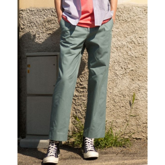 STITCH COTTON TROUSERS (GREEN)