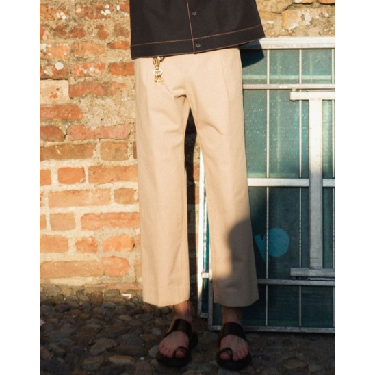 STITCH COTTON TROUSERS (BEIGE)