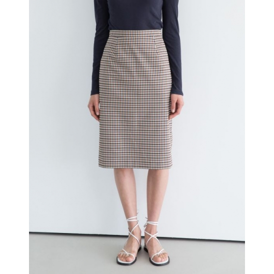 RETRO CHECK SLIT SKIRT (PINK)