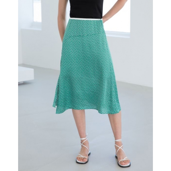 SLIT SATIN SKIRT (GREEN)