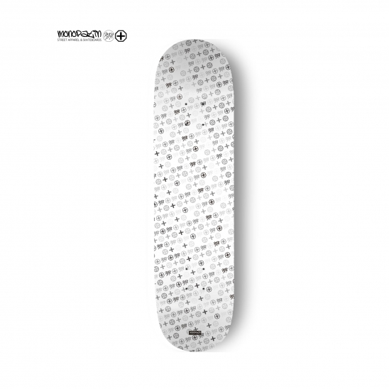 MNPT pattern white skateboard deck