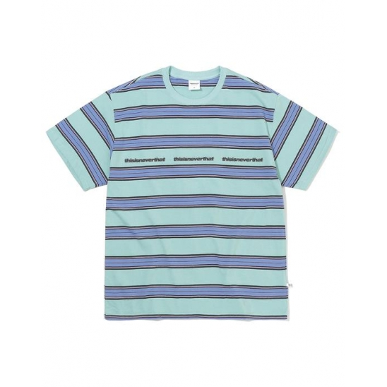 3ESP Logo Striped Tee Ice Blue
