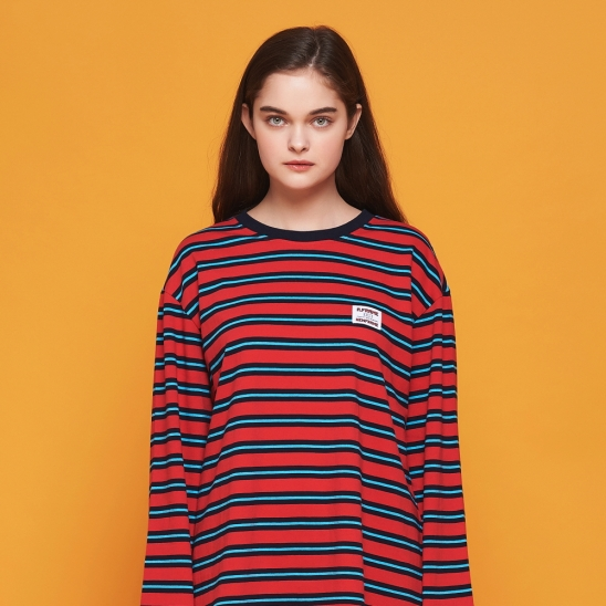 [어나더프레임] ANOTHER FRAME - IRREGULAR STRIPE LONG SLEEVE (RED/NAVY) 긴팔티
