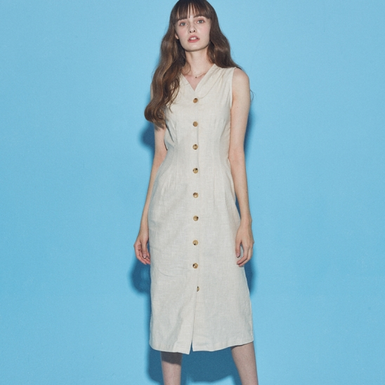 LINEN SLEEVELESS ONE-PIECE_IVORY