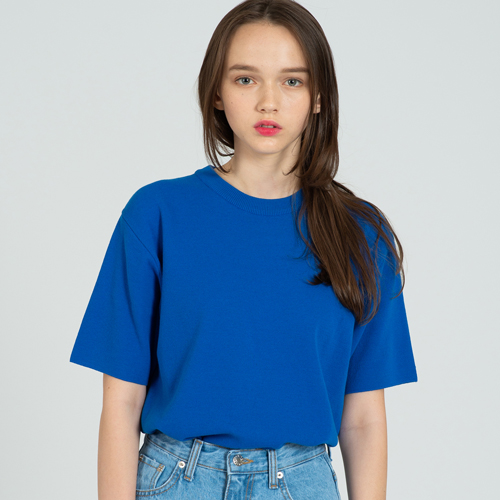 COOL SOFT SHORT SLEEVE CREW NECK KNIT CO.BLUE