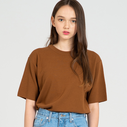 COOL SOFT SHORT SLEEVE CREW NECK KNIT T.BROWN