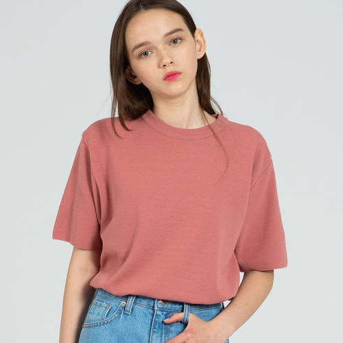 COOL SOFT SHORT SLEEVE CREW NECK KNIT INDIPINK