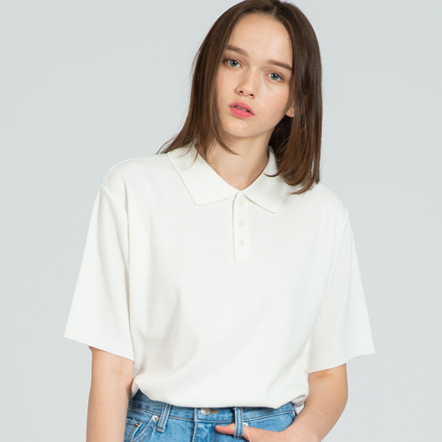 COOL SOFT SHORT SLEEVE COLLAR KNIT IVORY