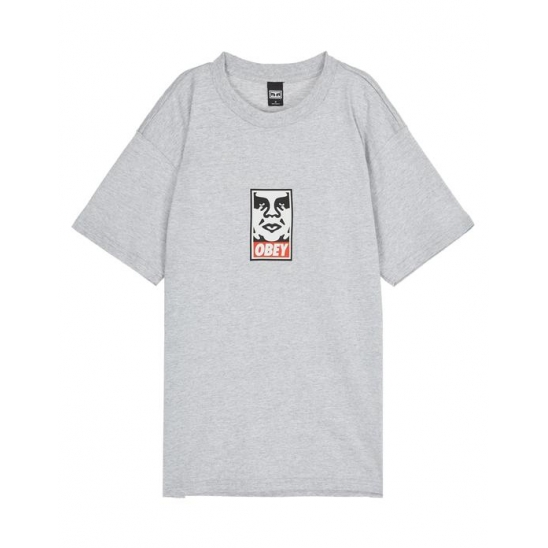 OBEY ICON FACE HEATHER GREY