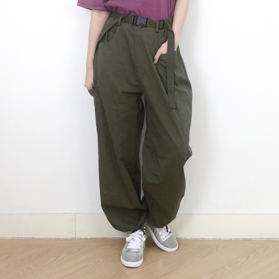 (UNISEX) Buckle Belt Cargo-Pants (KHAKI)