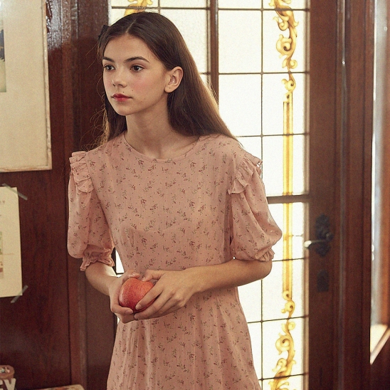 Frill Printed Dress with Pocket (Indie Pink)