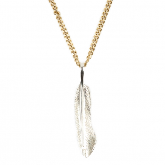 255# SOLIDBRASS FEATHER NECKLACE-NO.2