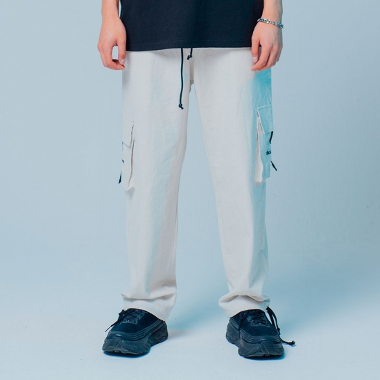 LINEN CARGO JOGGER PANTS LIGHT GRAY