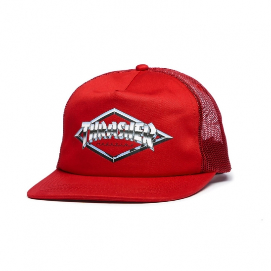 트레셔 - 3131350 DIAMOND EMBLEM TRUCKER HAT 트래커 캡-RED