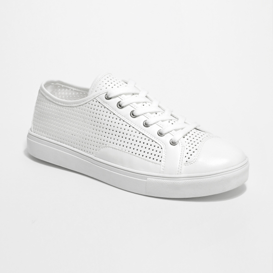 White Punched Sneakers