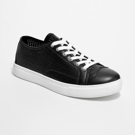 Black Punched Sneakers