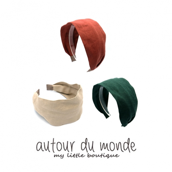 simple linen hairband (3colors)