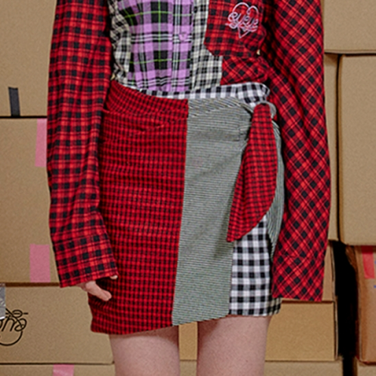 CHECK COMBINATION KNOT WRAP SKIRT_RED (EEON3SKR01W)