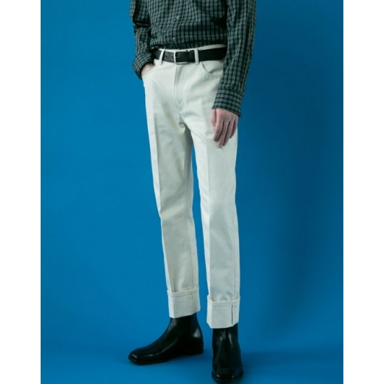 CLASSY TURN-UP CREAM JEANS IVORY