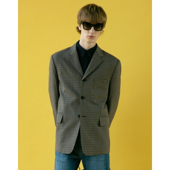 UNISEX STANDARD SINGLE-BREASTED WOOL JACKET (NAVY CHECK)