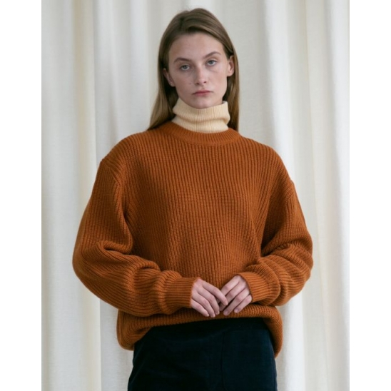 UNISEX BASIC CREWNECK WOOL SWEATER (DARK ORANGE)