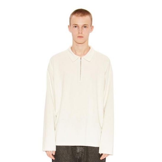 HALF ZIP-UP POLO SHIRT ivory