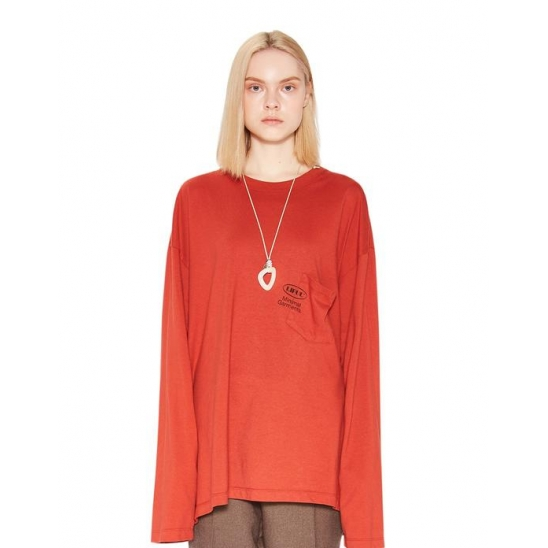 OVAL POCKET LONG SLEEVE TEE red brown