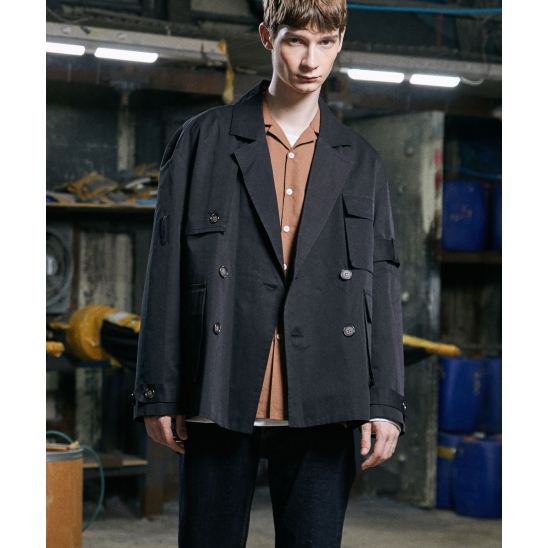 LE MANS SHORT TRENCH COAT (BLACK)