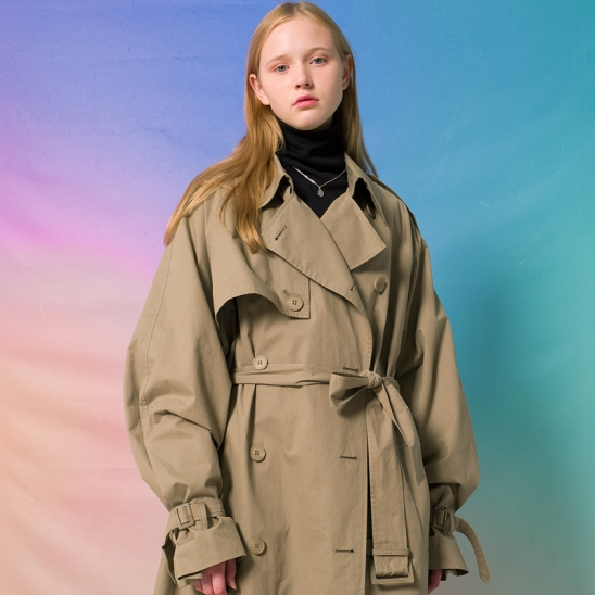 9F Oversized Trench Coat(LIGHT KHAKI)