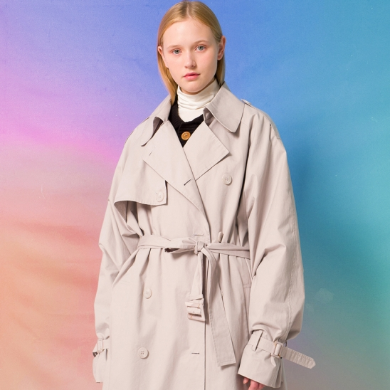 9F Oversized Trench Coat(LIGHT GRAY)