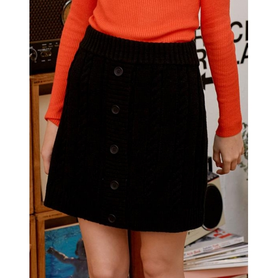 (SK-19531) BUTTON KNIT SKIRT BLACK