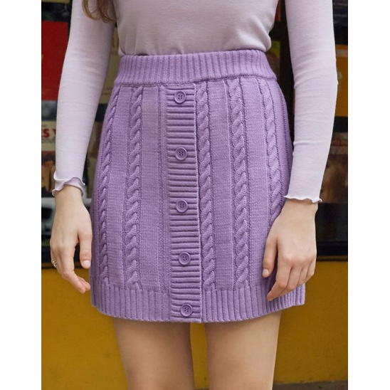 (SK-19531) BUTTON KNIT SKIRT LAVENDER