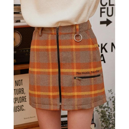 (SK-19741) ZIPPER CHECK SKIRT MUSTARD