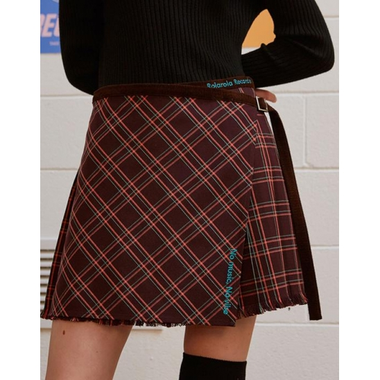 (SK-19543) CHECK PLEAT WRAP SKIRT BROWN