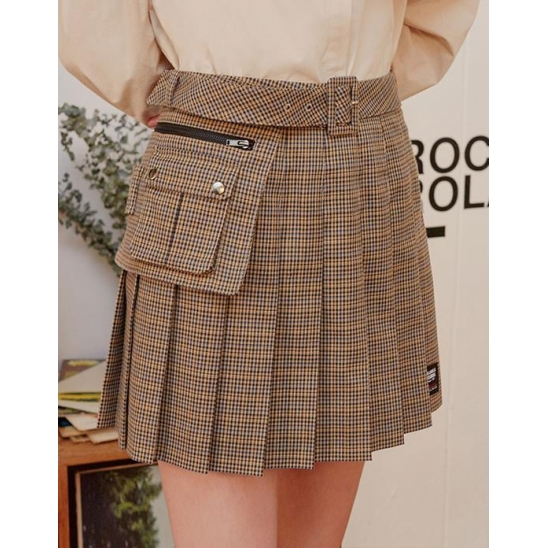 (SK-19541) BELT PLEAT CHECK SKIRT BEIGE