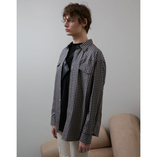 LOOSE WESTERN CHECK SHIRT(BEIGE)