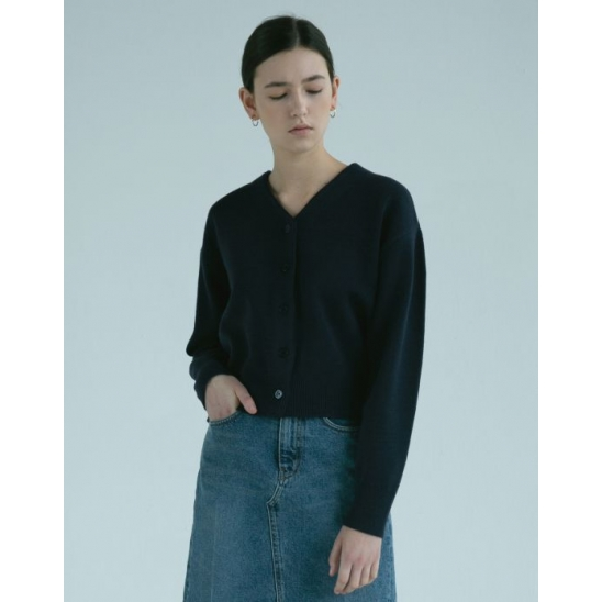 BASIC CROP WOOL CARDIGAN (NAVY)