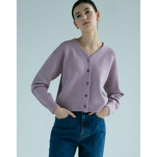 BASIC CROP WOOL CARDIGAN (PINK PURPLE)