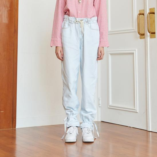 STRING WASHING DENIM PANTS (LIGHT BLUE)