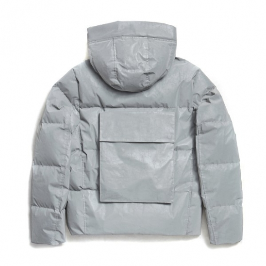 REFLECTIVE BACKPOCKET HOOD DOWN JACKET (GREY)