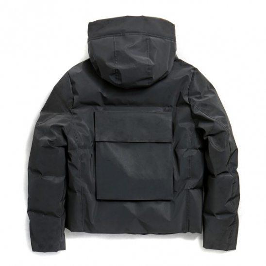 REFLECTIVE BACKPOCKET HOOD DOWN JACKET (BLACK)