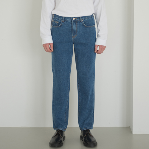 SOFT WIDE H LINE JEANS D.BLUE