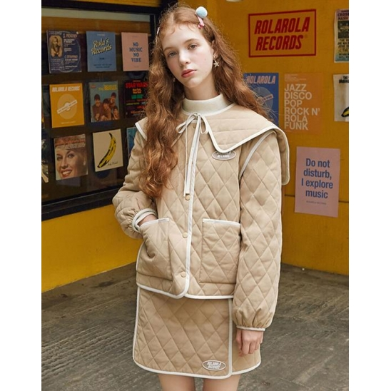 [로라로라] (JP-19704) SAILOR QUILTING JUMPER BEIGE