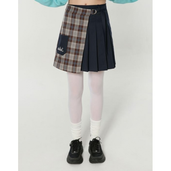 HALF CHECK WRAP SKIRTS_NAVY