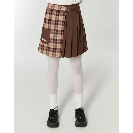 HALF CHECK WRAP SKIRTS_BROWN