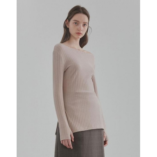 SLIT LONG SLEEVE TEE WOMEN [BEIGE]