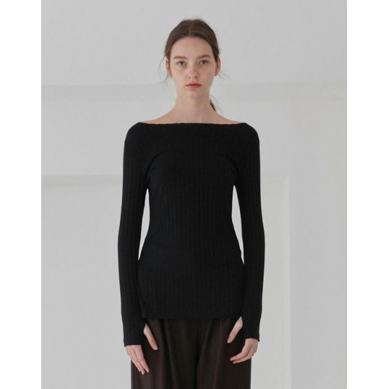 SLIT LONG SLEEVE TEE WOMEN [BLACK]