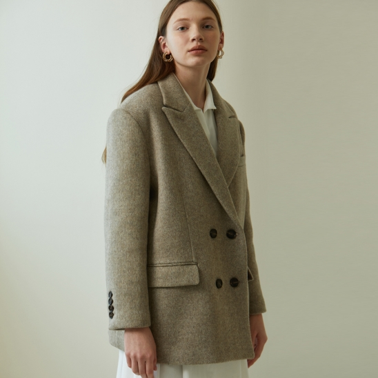 BEIGE OVERFIT DOUBLE WOOL JACKET (베이지 오버핏 더블 울 자켓)